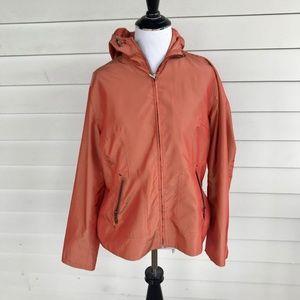 Chico's Burnt Orange Ripstop Nylon Hoodie Jacket